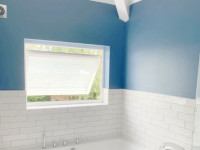 Bathroom designed and fitted - beautiful blue colours! Bathroom was completed on Hillside Road